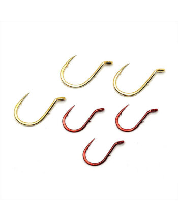 Single Egg Hooks, Barb On Shank - Red and Gold Group